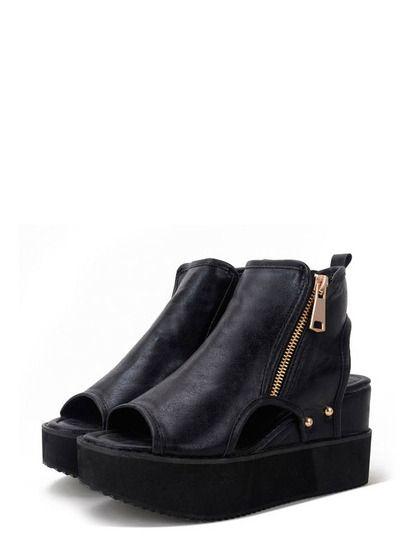 Shop Black Peep Toe Zipper Cutout Thick-soled Wedges online. SheIn offers Black Peep Toe Zipper Cutout Thick-soled Wedges & more to fit your fashionable needs.