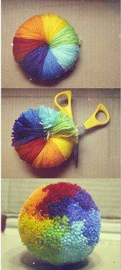 My grandma taught me how to make these when I was little! :) They are so fun to make! (need pom pom maker from Lion Brand yarn) via Cindy Odom, She's Crafty