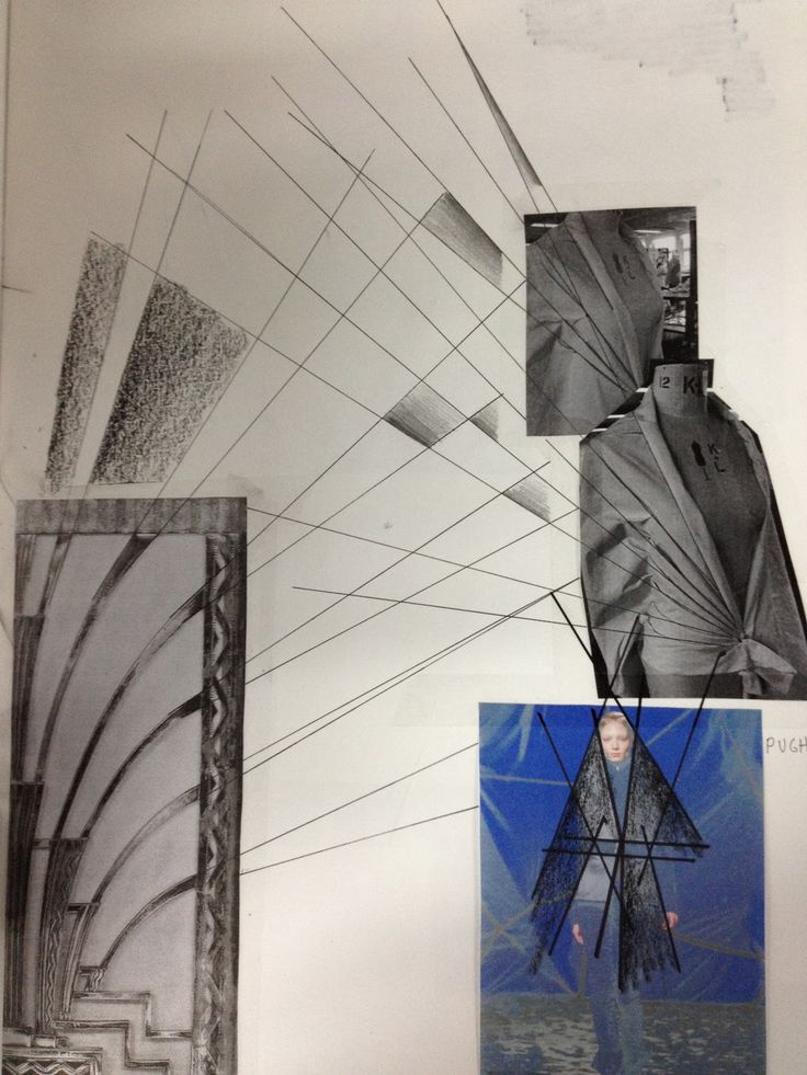 Fashion Sketchbook - fashion design inspired by lines in architecture - fashion drawings & draping experiments - layout; fashion student portfolio
