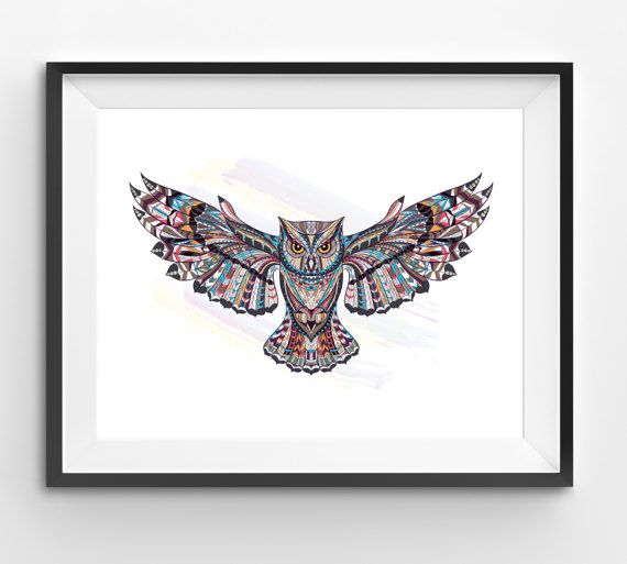 Colorful Owl Art Owl Wall Art Mosaic Owl Print Animal