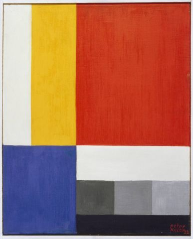"""De Stijl 1, 1922.  Peter Keler enrolled at the Weimar Bauhaus in 1921, where he took the preparatory course with Johannes Itten and also mural painting with Schlemmer and Kandinsky. He had the opportunity to put theory into practice in the design of the offices of the """"Faguswerk"""" in Alfeld, amproject led by Walter Gropius. He executed first furniture designs for the 1923 Bauhaus exhibition, among them his most acknowledged work, a cradle of geometric bodies."""