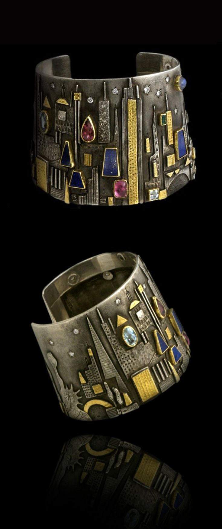"Cuff | Linda Ladurner. ""New York"". Sterling silver, gold, lapis lazuli, tourmaline, emerald, aquamarine, diamonds."