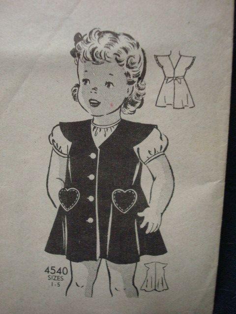 1940s Girls Sundress Sewing Pattern Size 2 Anne Adams by kinseysue