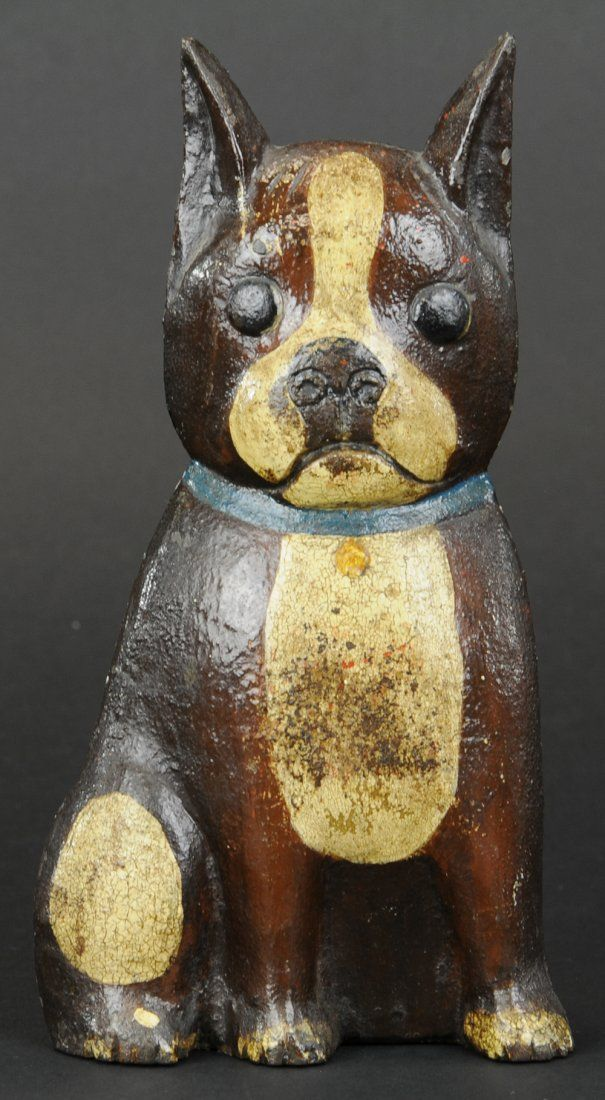 "Unusual sitting brown & white Boston Terrier with pointed ears and blue collar, wedge back. 8 1/2"" h."