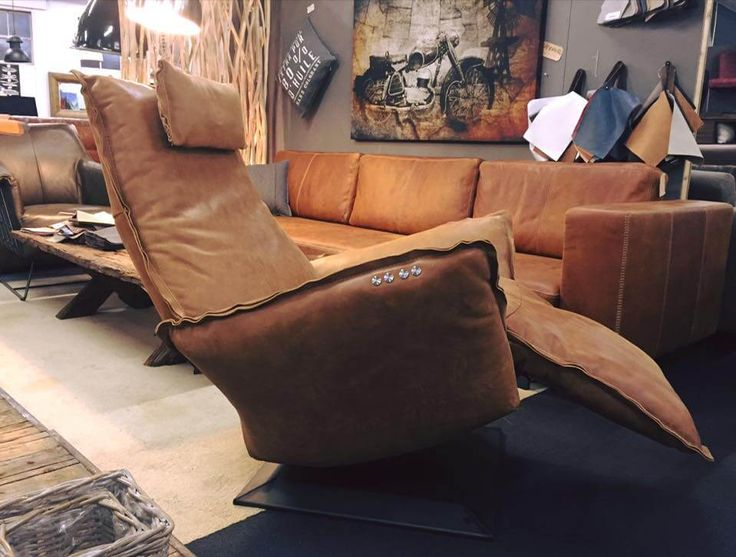 Relax fauteuil Jesse relaxchair in kenia vintage leder met accu Chill line.