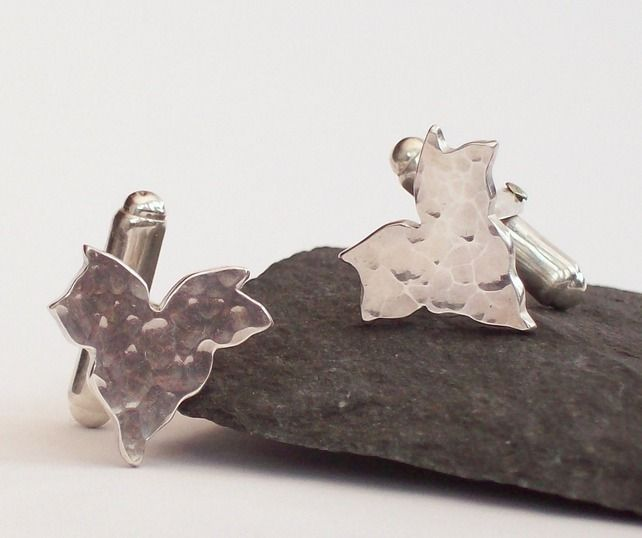 Silver Ivy Leaf Cufflinks Hammered Leaf Cuff Links £78.00
