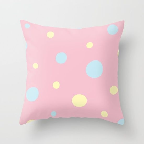 Pastel Polka Dots Throw Pillow
