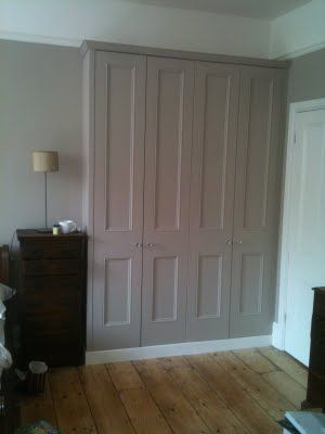 Built in wardrobes, same colour as walls
