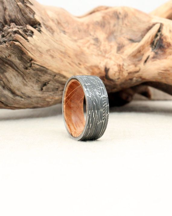 Damascus Steel and Jack Daniels Whiskey Barrel by WedgewoodRings