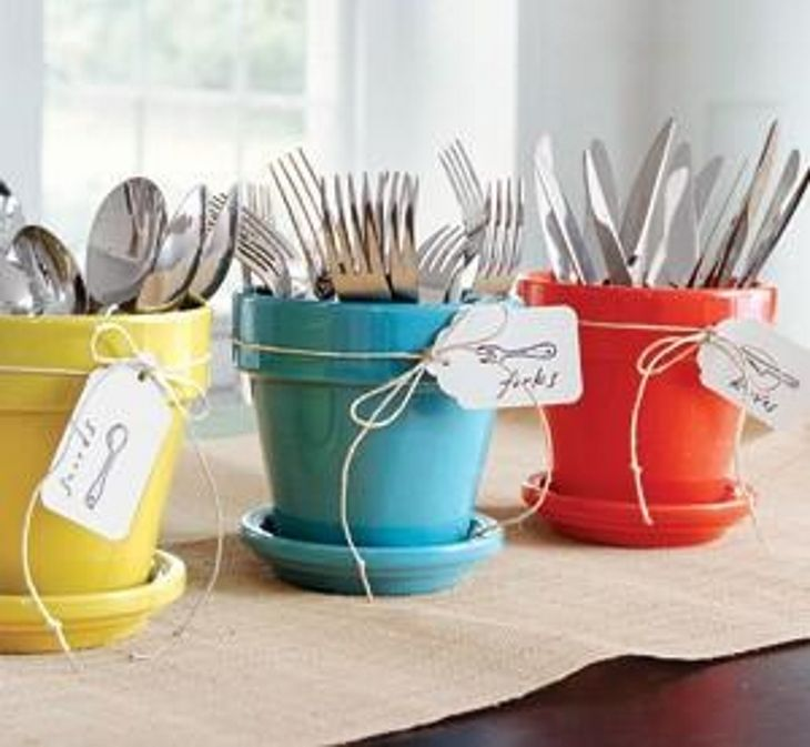 Silverware Caddies | Think Clay Pots Are Only For Flowers? Think Again With These 13 Clever Ideas!