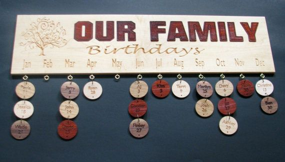 Wood Family Birthday Board, feauturing Exotic Paduak as well as Maple, Cherry and Walnut