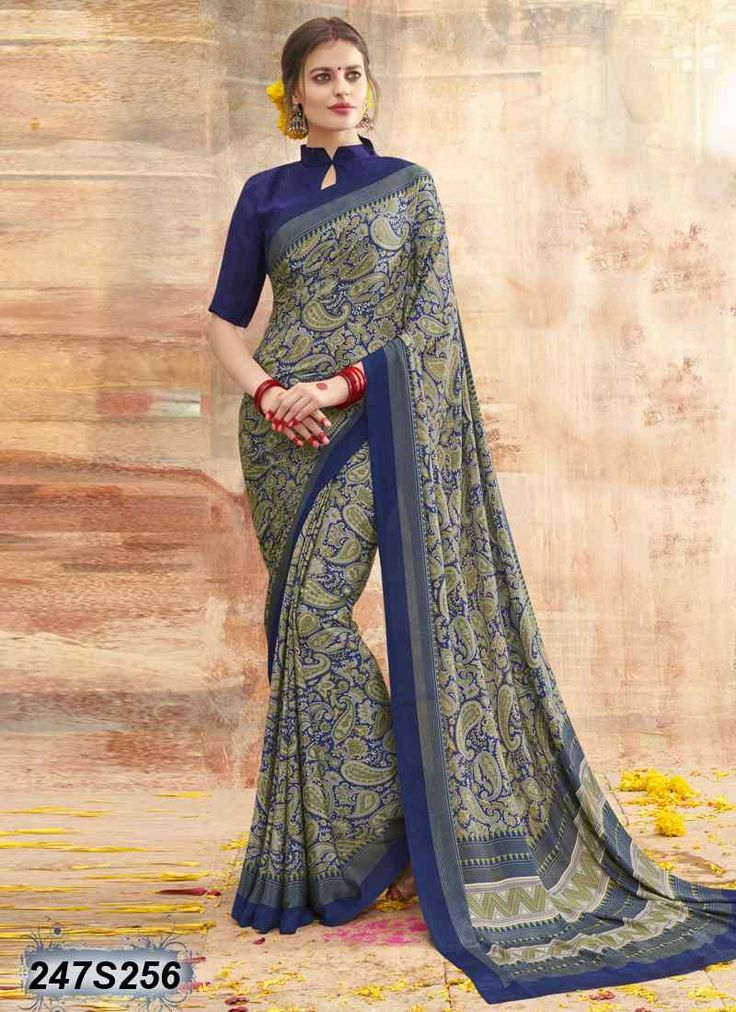 Bedazzling Blue Coloured Crepe Printed Saree