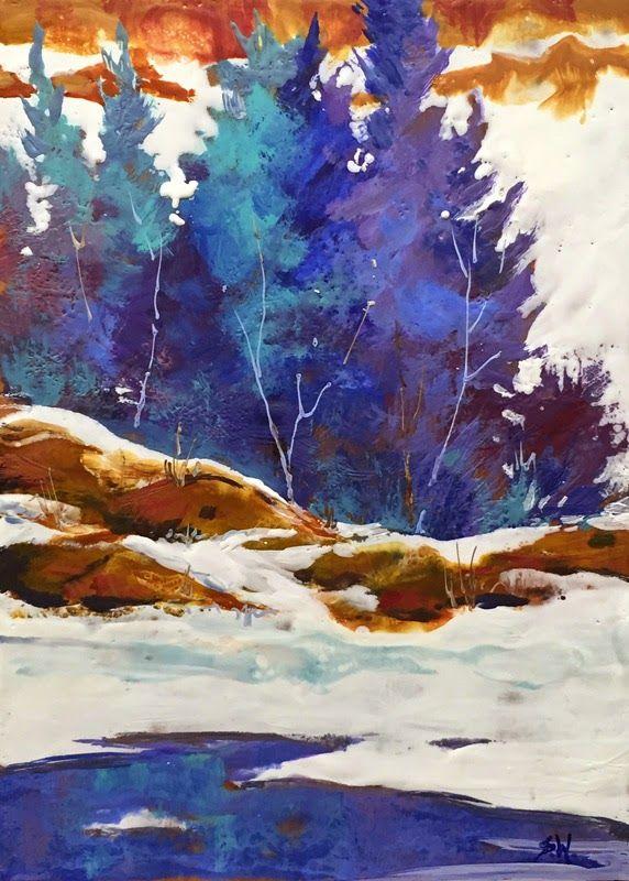 "Sharon Lynn Williams' Art Blog: ""Creekside Winter"" encaustic painting by Sharon Lynn Williams"