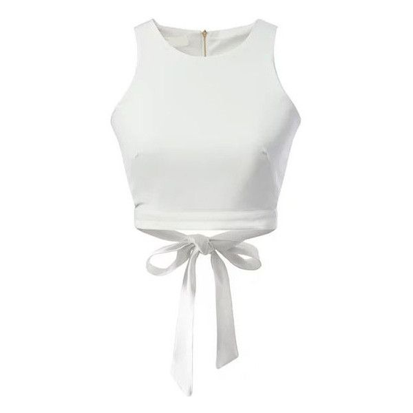 SheIn(sheinside) White Zipper Hollow Bow Tank Top ($14) ❤ liked on Polyvore featuring tops, crop tops, shein, white, white cami, white tank top, embellished crop top, cropped cami and crop top