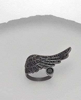 Sterling Silver Black Diamante Angel Wing Ring by SunshineNShowers, £30.00
