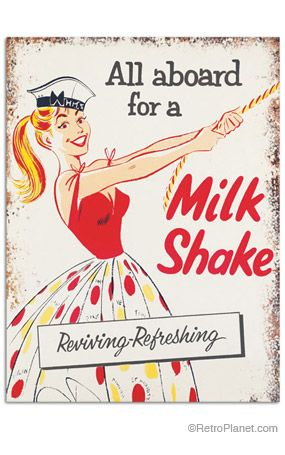 All Aboard For A Milk Shake Tin Sign | Retro Planet