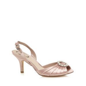 Debut Pale pink textured satin slingback heeled shoes- at Debenhams Mobile