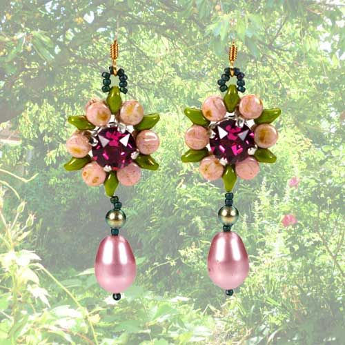Pink Secret Garden Earrings with Pellet Beads and Swarovski Chaton set in a Four Prong Setting