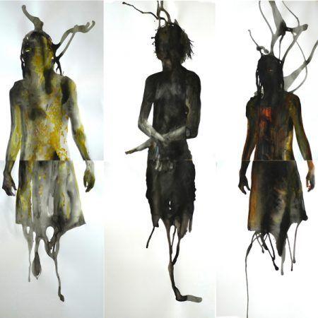 Galerie Modulab Luc Doerflinger, Trois Mues méduses, 2012, aquarelles et gouaches sur papier (diptyque); 200 x 70 cm chacune Galerie Maeght, exposition Corps et nus à la Galerie Maeght