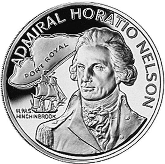 Монета: 10 Dollars (Admiral Horatio Nelson) (Ямайка) (1969 ~ сегодня - доллар - нумизматическая продукция) WCC:km71