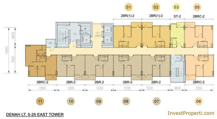 Floor Plan apartemen Skyline Residence Cawang.