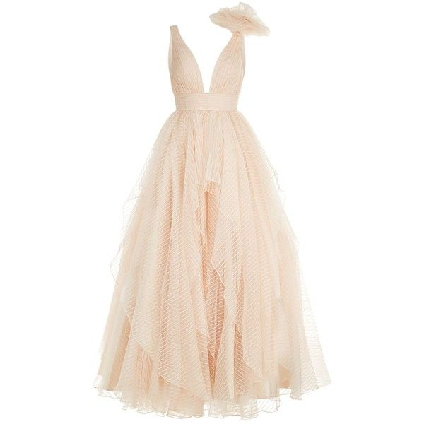 Jovani Stripe Chiffon Rosette Embellished Gown (13.635 HRK) ❤ liked on Polyvore featuring dresses, gowns, chiffon dress, pink ball gown, chiffon evening dresses, chiffon evening gown and jovani evening gowns