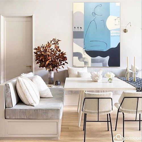 """""""Mediterranean Mama"""" - $2500 36x48 available at @anneirwinfineart // see how your painting lives in any space through @artcloud app #anneirwinfineart photo courtesy of: @archdigest #banquettedesign #interiordesign #instadecor #instadesign #atlantainteriors #atlantainteriordesign #designinspo #interiorinspo #originalart #artwork #figurativeartist #paigekalenafollmann #archdigest #artcloud"""