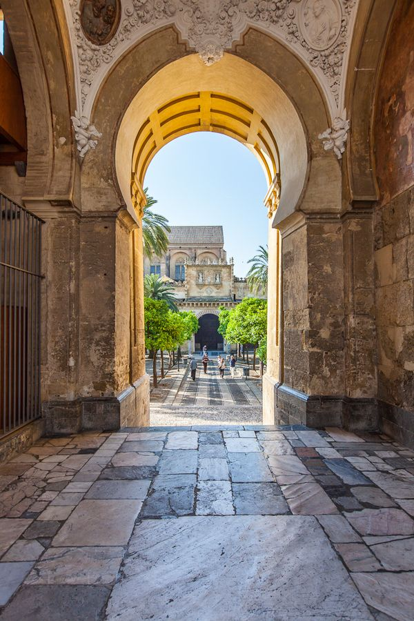 Entrance to the Patio de los Naranjos of the Mezquita in Cordoba, Andalusia,Spain