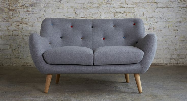 Buy Kennington Small 2-Seater Fabric Sofa in Knebworth Light Grey Multi Coloured Button