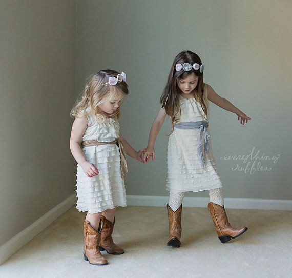 Ruffly Flower Girl Dresses - ivory