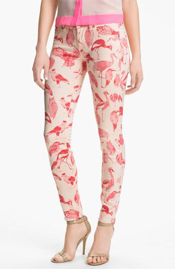 Bird jeans (if there's not a flamingo on there, there should be) Ted Baker London Print Stretch Skinny Jeans (Natural)   Nordstrom