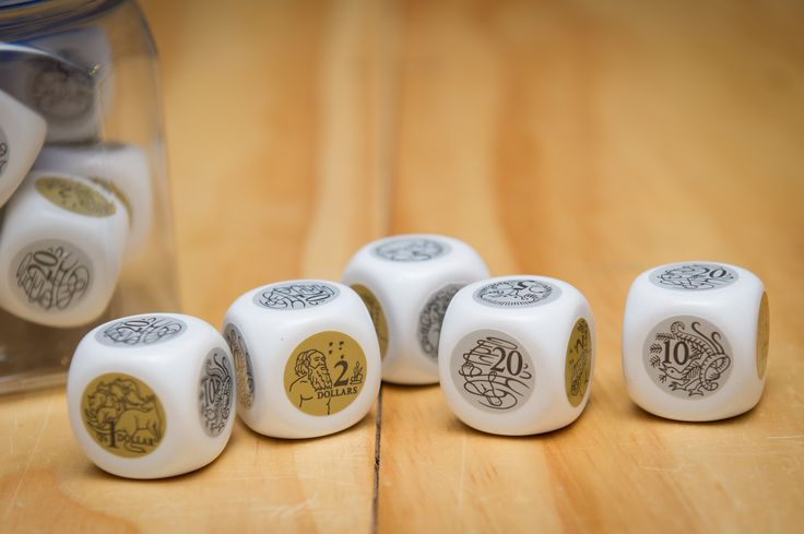 Jumbo money dice – 30mm 6 sided dice with the following denominations – $2, $1, 50c, 20c, 10c and 5c – a great resource to make your own money games – make learning fun.  Sold separately.