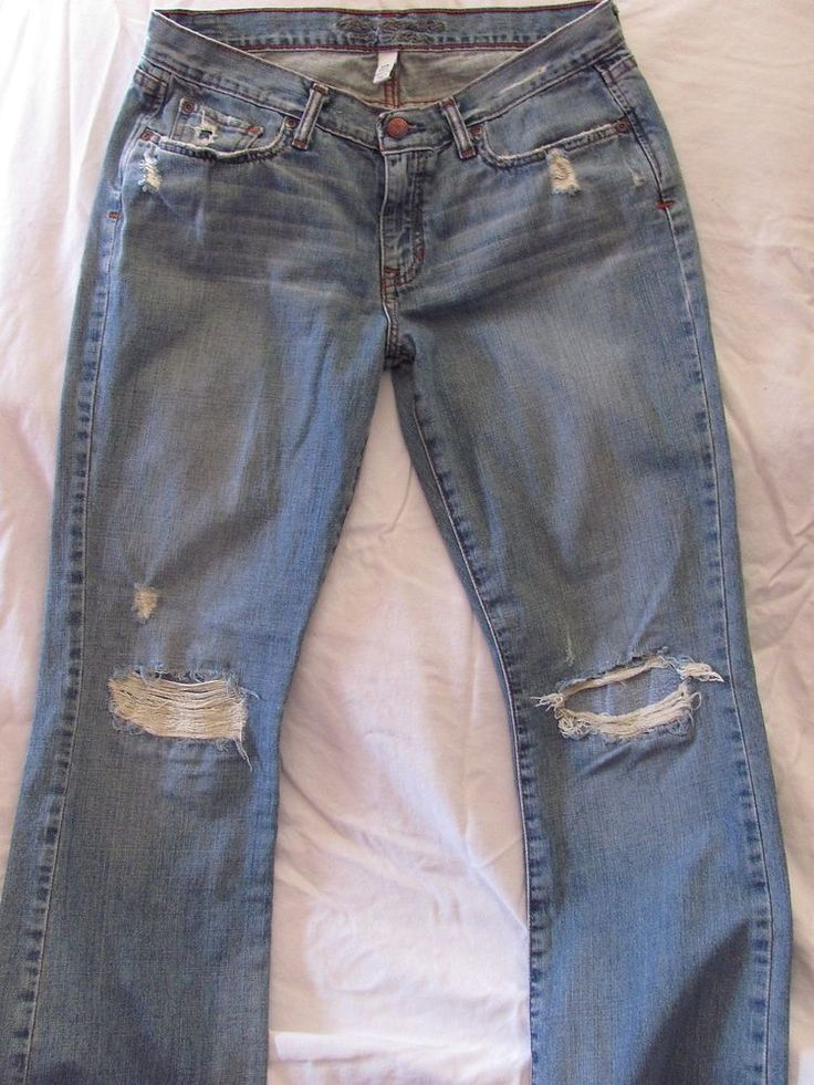 Abercrombie & Fitch Medium Blue Low Rise Boot Cut Distressed Jeans 10 R #AbercrombieFitch #BootCut