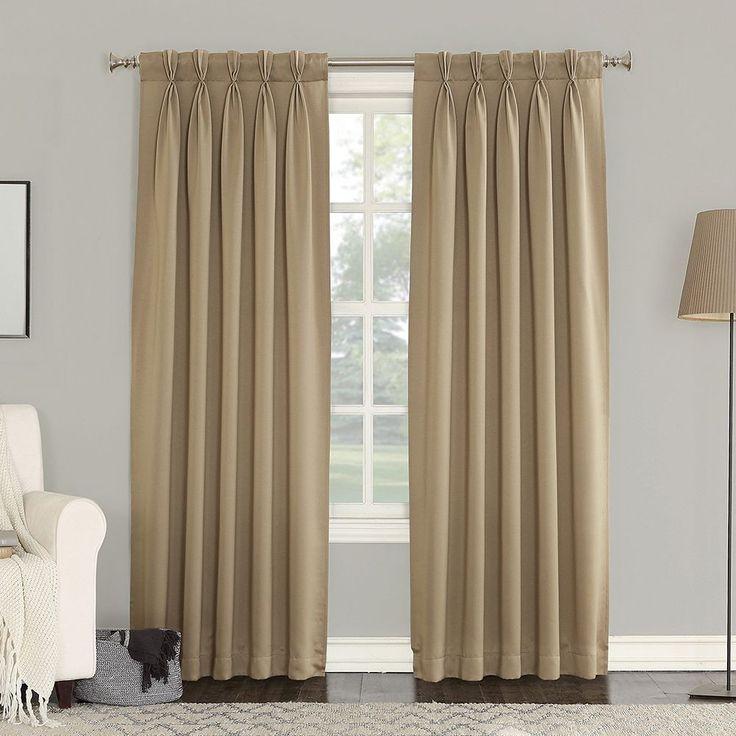 Sun Zero 2-pack Gramercy Room Darkening Curtains, Beig/Green (Beig/Khaki)
