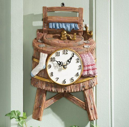 Vintage Wash Bucket Shaped Wall Clock