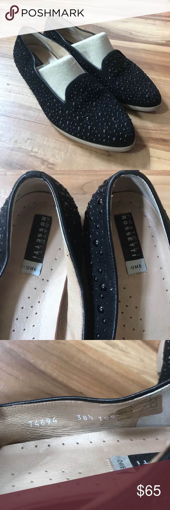 Fratelli Rossetti black studded flats 38.5 Gorgeous Fratelli Rossetti ONE studded flats in great condition . A minor bit of wear on the bottom which you you can see in the pics but overall in great shape and super comfortable!  Leather. Made in Italy Fratelli Rossetti Shoes Flats & Loafers
