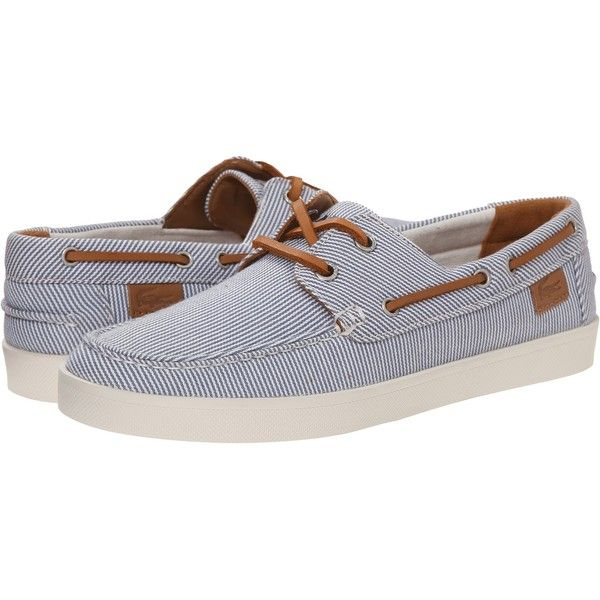 Lacoste Cauvin 3 Women's Flat Shoes, Blue ($73) ❤ liked on Polyvore featuring shoes, flats, blue, summer flats, slip on boat shoes, flat slip on shoes, deck shoes and flat pumps