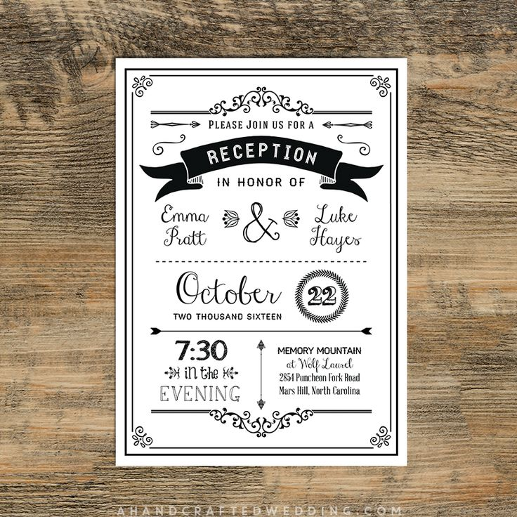 Black Diy Reception Only Invitation  Ahandcraftedwedding Wedding