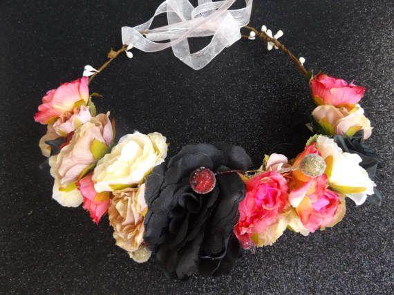 Hair Flower Garland Champagne Breakfast Wreath Crown Floral