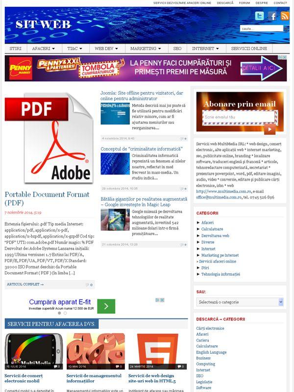 Sit web - Dezvoltare afaceri online  Servicii de web design, scriere articole, optimizare pentru motoarele de căutare (SEO) şi promovare pe Internet pentru comerţ electronic, site-uri web, bloguri şi reţele sociale.  http://www.sitweb.ro/
