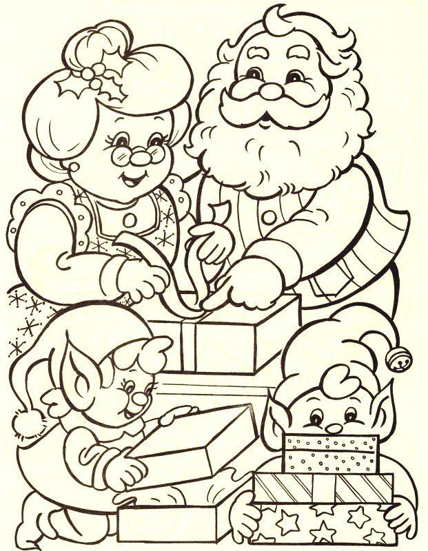 papa y mama noel con duendecitos
