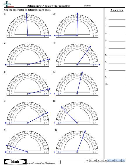 Determining Angles with Protractors worksheet Mehr zu Rechentraining auf LernCoaching-Berlin.com
