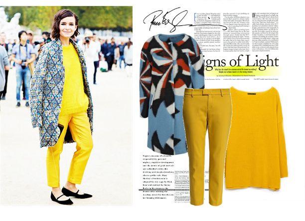 Яркая осень: желтые брюки+желтый свитер, yellow look, fall 2014