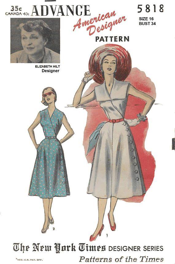 Advance 5818 American Designer Elizabeth Hilt Wrap Dress with