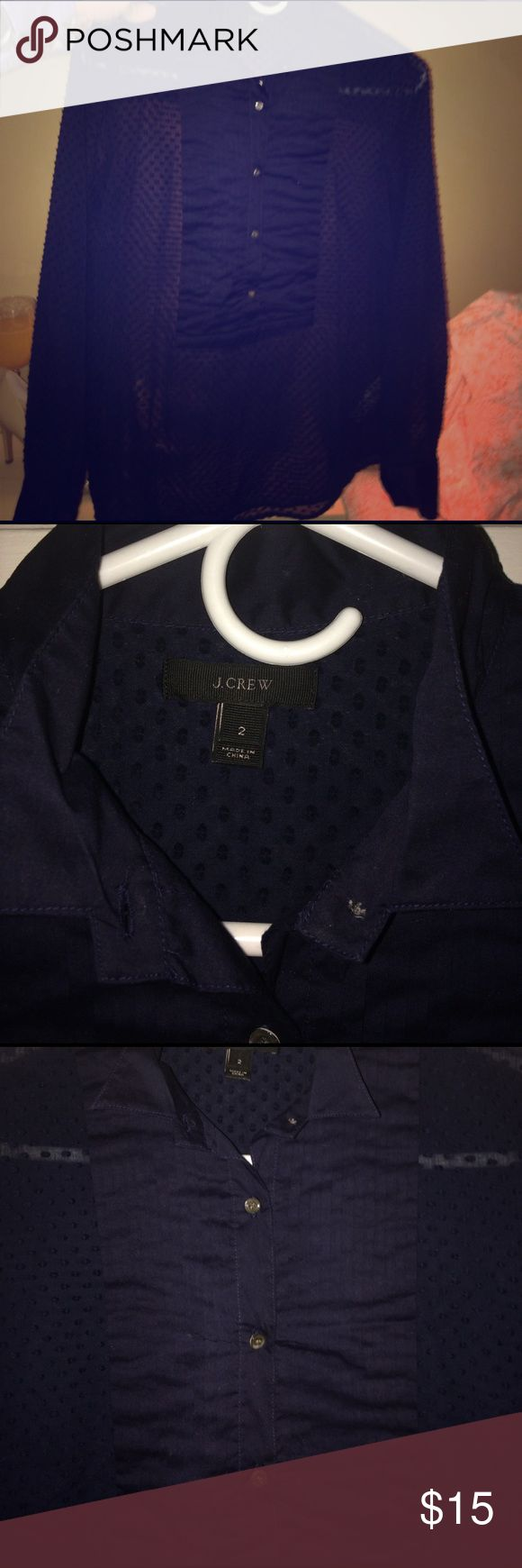 JCrew Swiss dot tuxedo shirt in navy JCrew Swiss dot tuxedo shirt in navy,  100% cotton pullover top with five buttons and collar. Tuxedo like front. Thin material. Beautiful top dressy or casual. J. Crew Tops Blouses