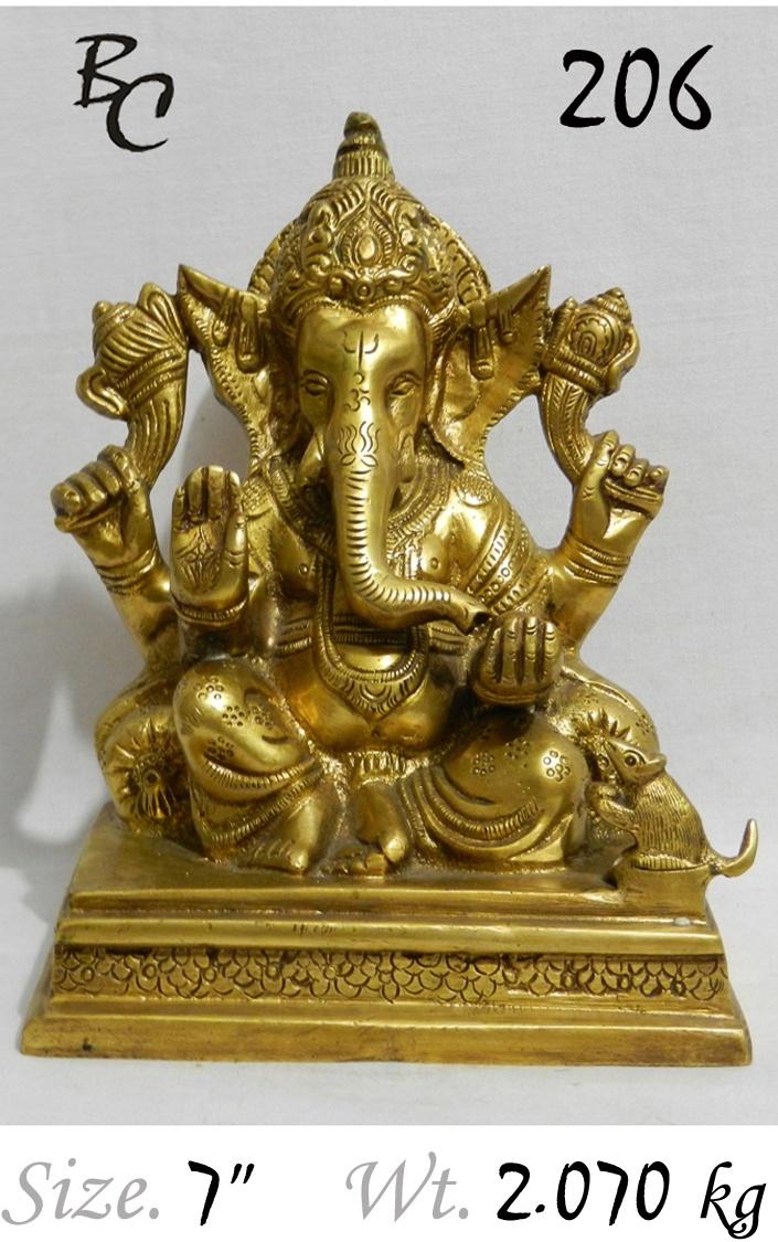 Brass Sitting Ganesh