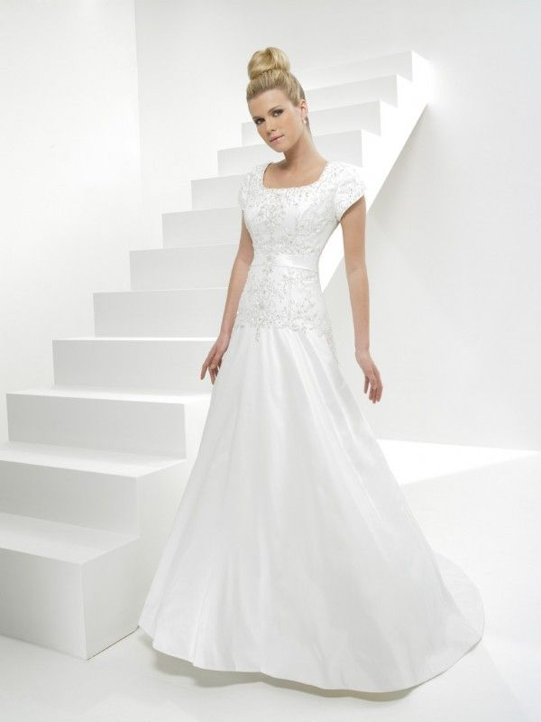 White A-line Silhouette Modest Wedding Dress With Sleeves