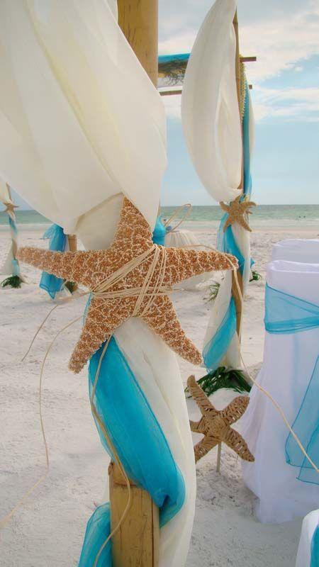 Nautic canopy wedding outdoor beach  party decor Blue White Summer DIY Eco +++ Decoracion para boda celebracion fiesta evento en la playa hecho por uno mismo manualidad cortinas azul blanco estrella de mar Natural elegante chic glam tropical