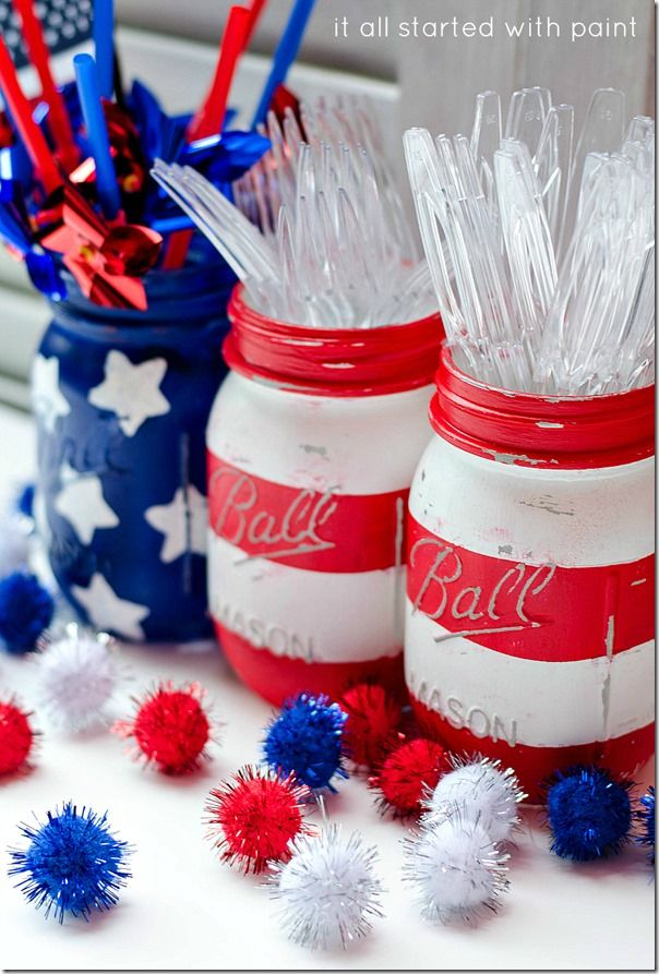 Red White Blue Mason Jars And 4th Of July Decorations