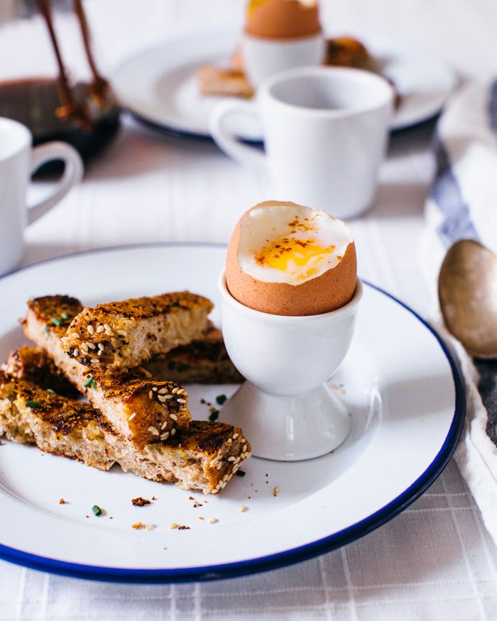 Dippy Eggs with Cheese-Fried Toast Soldiers | A Couple Cooks